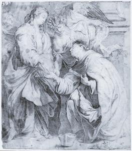 Knielende heilige voor Maria en engel