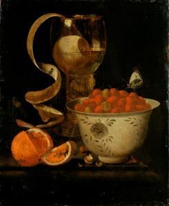 Stilleven met roemer, citrusvruchten en een schaal aardbeien