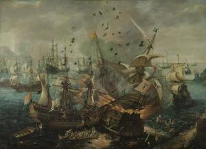 Het ontploffen van het Spaanse admiraalschip tijdens de zeeslag bij Gibraltar, 25 april 1607