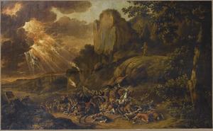Zuidelijk landschap met Mozes die vanaf een rots de veldslag tussen Israelieten en de Amalekieten aanschouwt (Exodus 17:8-11)