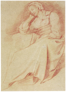 Zittende vrouw leunend op haar arm