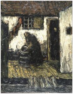 Vrouw op een binnenplaatsje