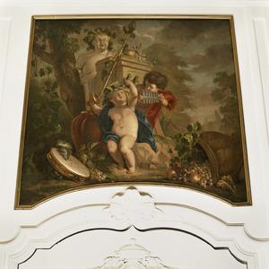 Kleine Bacchus met druiven en jongetje met panfluit