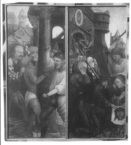 De geseling (links), de kruisdraging (rechts)