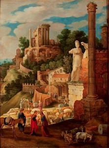 Landschap met de terugkomst van Tobias bij zijn ouders bij klassieke ruïnes