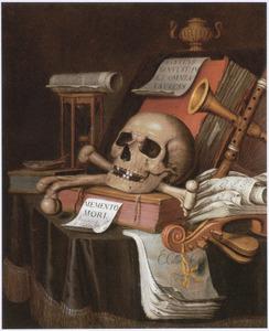 Vanitasstilleven met een schedel en gekruiste botten, muziekinstrumenten en boeken, op een gedekte tafel