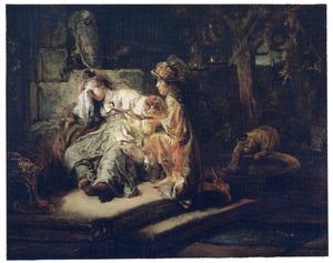 Mercurius tracht Aglauros met goud om te kopen om hem toegang tot Herse te geven