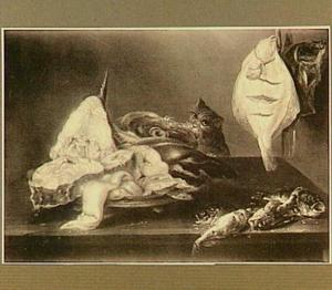 Visstilleven met een kat die een vissenkop probeert te stelen