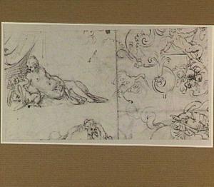 Venus en Cupido en studies van ornamenten en figuren