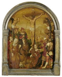 De kruisiging: Stefaton geeft Christus een in edik gedrenkte spons te drinken