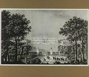 kasteel Schoonenberg in Laken, hoofdingang aan de noordzijde, tijdends de aankomst van de hertog Albert van Sachsen-Teschen en de aartshertogin Marie-Christine van Oostenrijk