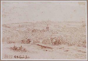 Landschap met op de achtergrond een dorp