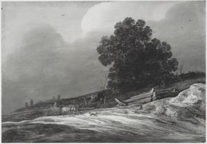 Duinlandschap met een boerenwagen