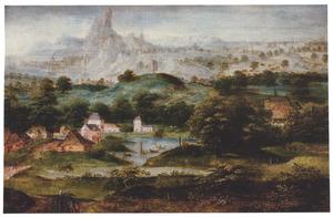 Heuvellandschap met dewegzending  van Hagar en Ismaël  (Genesis 21:16-21)