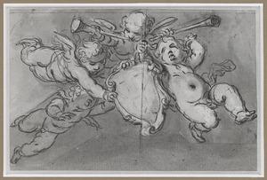 Vier putti met het schild van het Lucasguilde