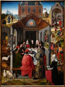 Job en zijn gezin aan een rijke dis, omringd door voorstellingen uit het leven van Job met het portret van Gentina Solaro