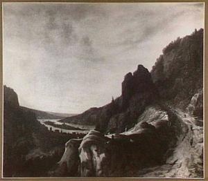 Bergachtig landschap met riviervallei