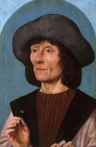 Portret van een man met een anjer in zijn rechterhand