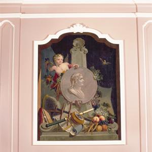 Medaillon met portret van een man, omgeven door nautische instrumenten en vruchten