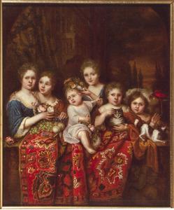 Familieportret van onbekende kinderen