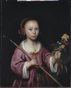 Portret van een onbekend achtjarig meisje als herderin