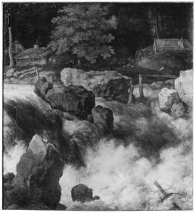 Berglandschap met hutten nabij een waterval