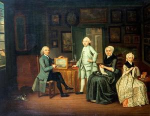 Portret van een familie in een kamer met een schilderijenverzameling
