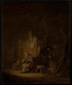 Boerenpaar in een hut