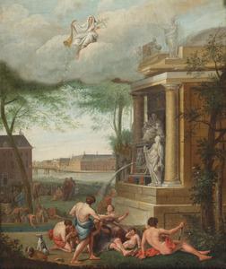 Allegorie op de liefdadigheid met figuren bij een tempel, op de achtergrond het 'Oude Mannen en Vrouwen Huis'  (Amstelhof)