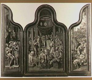 Safan leest Josia, koning van Juda, voor uit het boek van het verbond (2 Koningen 22:8-11; 2 Kronieken 34:15-19) (links), priester Chilkia leest het volk voor uit het boek van het verbond (2 Koningen 23:1-3; 2 Kronieken 9-31) (midden), Josia laat tempels en beelden vernietigen (2 Koningen 23:11-24) (rechts)