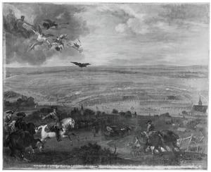De slag bij Petrovaradin , op 5 augustus 1716 tussen de Oostenrijkers en de Turken
