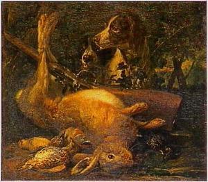 Twee honden bij jachtbuit, waaronder een haas, en een geweer