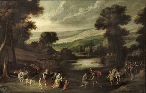 Weids landschap met de verzoening van Jacob en Esau (Genesis 33: 3-4)