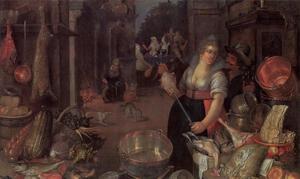 Keukeninterieur met amoureus paar. Op de achtergrond de Verloren Zoon bij de courtisanes