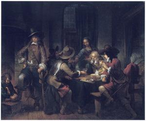 Soldaten spelen triktrak in een herberg