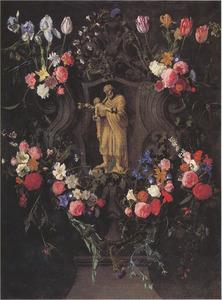 Gebeeldhouwde cartouche met bloemen rondom een beeldje van de heilige Jozef en het Christuskind