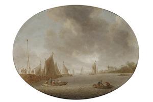 Rivierlandschap met zeilboten en roeiboten bij een haven