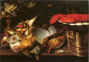 Een jachtstillleven met een haas, gevogelte, een kreeft en een tazza op een tafel