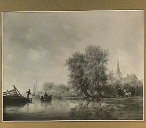 Rivierlandschap met boten, op de rechteroever een rijtuig en een kerk