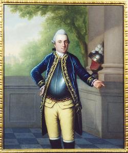 """Portret van Robert Jasper van der Capellen (1743-1814), op de achtergrond kasteel """"de Marsch"""""""
