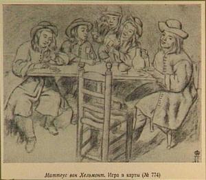 Rokende, drinkende en kaartende mannen rond een tafel