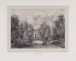 Gezicht op de hofstede Cromvliet vanuit de tuin