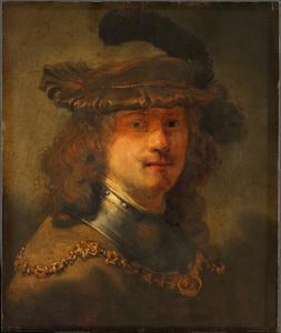 Zelfportret met fluwelen baret en gouden ketting