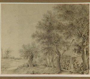 Boslandschap met figuren bij een herberg
