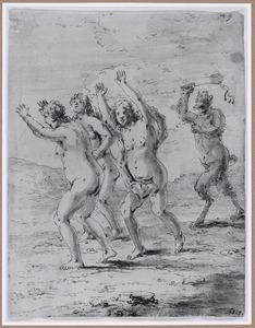 Een duivel verjaagt vrouwen uit de hel  (Suenos 1641, boek VI, vijfde droom)