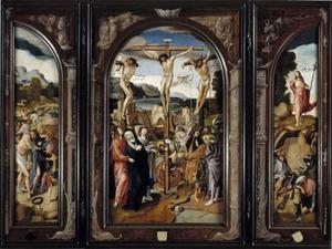 De bespotting van Christus (binnenzijde linkerluik), de kruisiging (middenpaneel), de opstanding (binnenzijde rechterluik)