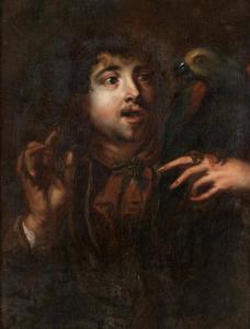 Portret van een man met papegaai (allegorie op het gevoel)