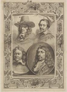 Portretten van Karel Dujardin (1626-1678), Gilles Claesz. de Hondecoeter (?-1638), Gabriel Metsu (1629-1667) en Gerard ter Borch II (1617-1681)