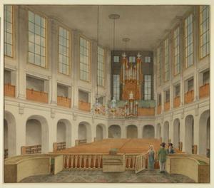 Interieur van het niet meer bestaande gebouw van het godsdienstig genootschap Christo Sacrum (1797-1838) aan het Rietveld in Delft