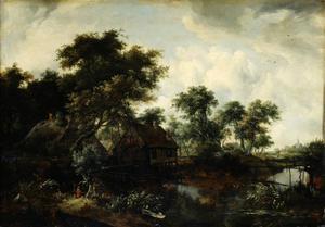 Landschap met watermolen tussen de bomen